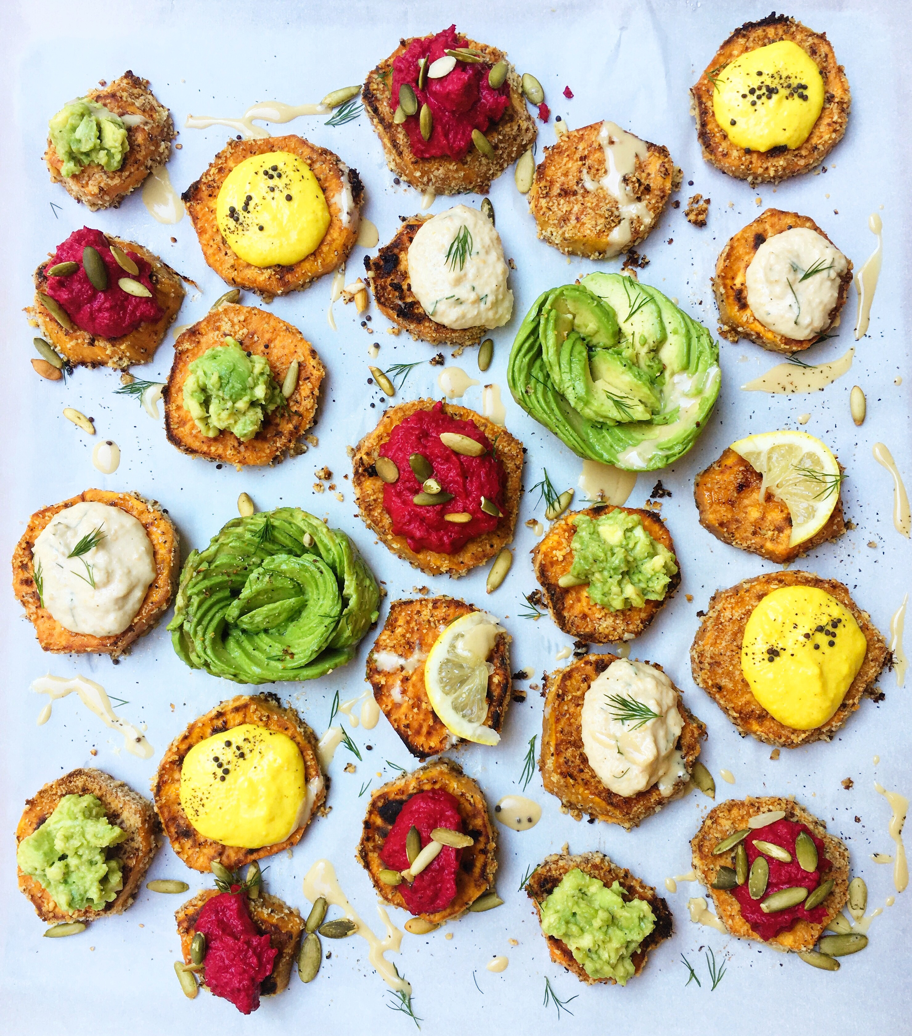 Sweet Potato Toasts with Four Dips